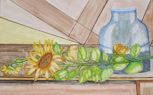 Marija Weiss, Dr., Sonnenblume am Tisch, Stilleben, Pflanzen, Gegenwartskunst