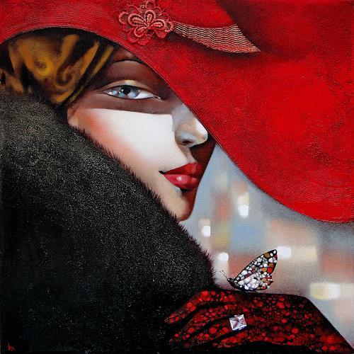 Ira Tsantekidou, Last Butterfly, 70x70, Menschen: Frau, Poesie, Abstrakte Kunst, Expressionismus