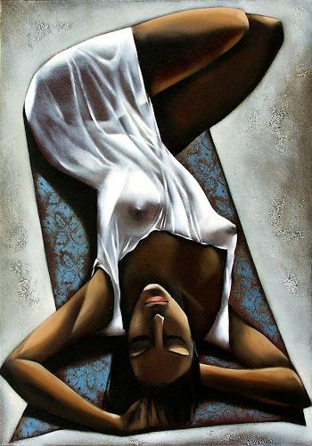 Ira Tsantekidou, Heisser Mittag 100x70, Akt/Erotik: Akt Frau, Freizeit, Abstrakter Expressionismus