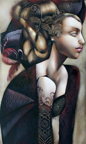 Ira Tsantekidou, Träumende, 60x100, Menschen: Frau, Menschen: Porträt, Expressionismus