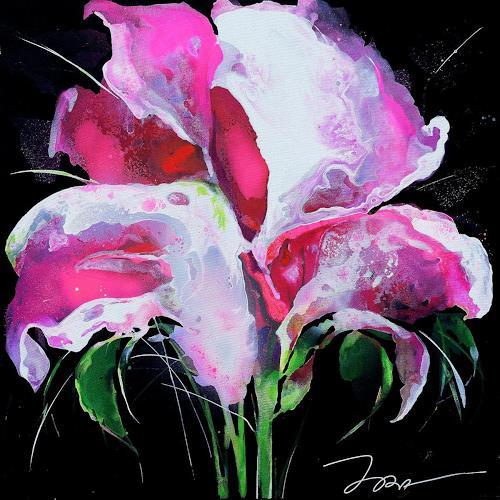 Ira Tsantekidou, Blume 1, 95x95, Pflanzen: Blumen, Art Déco