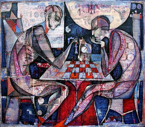Wlad Safronow, Schachspiel, 70x80, Spiel, Menschen: Gruppe, Expressionismus