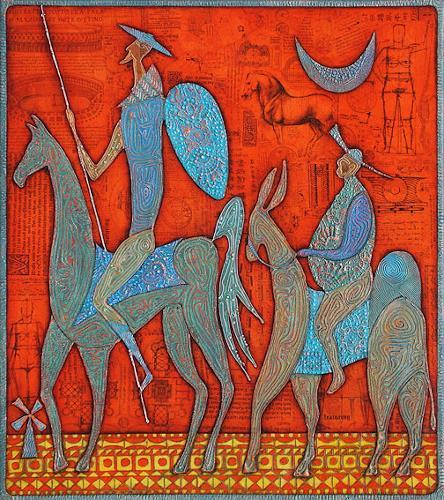 Wlad Safronow, Don Quixote und Sancho Pansa, 90x80, Menschen: Gruppe, Fantasie, Expressionismus
