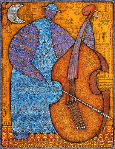 Wlad Safronow, Contrebasse, 90x70, Musik: Instrument, Menschen: Mann, Expressionismus