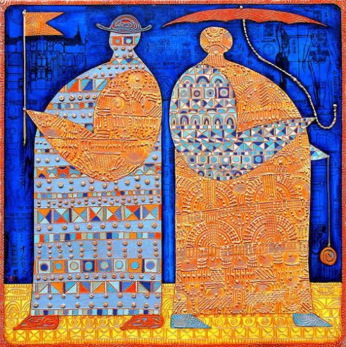 Wlad Safronow, Orange, 80x80, Menschen: Gruppe, Dekoratives, Expressionismus
