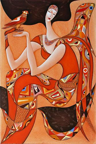Wlad Safronow, Engel mit Falke, 120x80, Diverse Erotik, Religion, Expressionismus