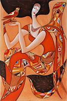 W. Safronow, Engel mit Falke, 120x80