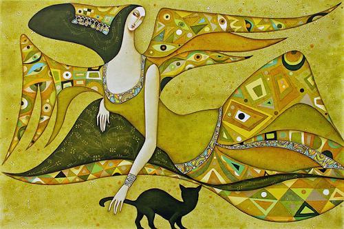 Wlad Safronow, Engel des Frühlings, 80x120, Symbol, Gefühle: Freude, Jugendstil, Expressionismus