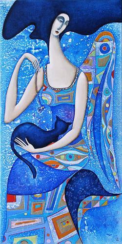 Wlad Safronow, Engel mit Katze (blau), 80x40, Mythologie, Situationen, Jugendstil, Expressionismus