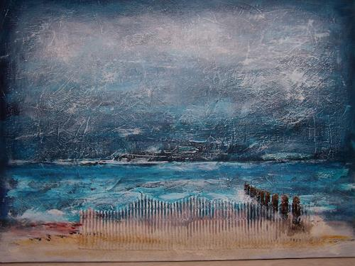 Sigrun Laue, Strand mit Buhnen, Landschaft: Strand
