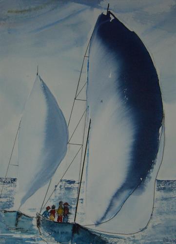 Sigrun Laue, Blaue Segel, Freizeit, Abstrakte Kunst, Abstrakter Expressionismus