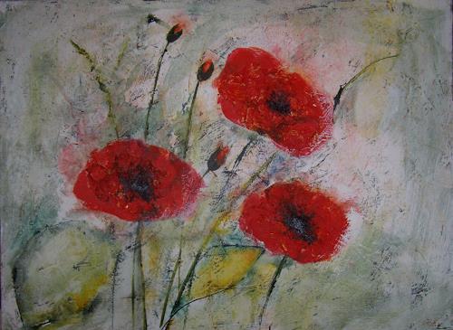 Sigrun Laue, 3x Mohn, Pflanzen: Blumen, Expressionismus