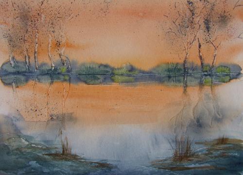 Sigrun Laue, Stille II, Natur: Wasser, Menschen, Expressionismus