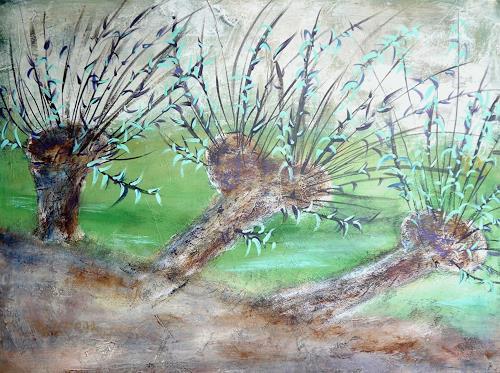 Sigrun Laue, Weiden, Landschaft: Frühling, Abstrakte Kunst