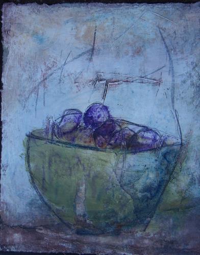 Sigrun Laue, Schale mit Pflaumen, Stilleben, Abstrakte Kunst, Expressionismus