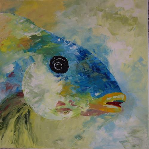 Sigrun Laue, Fisch blau, Tiere: Wasser, Abstrakte Kunst