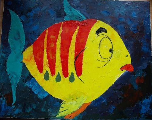 Sigrun Laue, Flunschfisch, Tiere: Wasser, Abstrakte Kunst