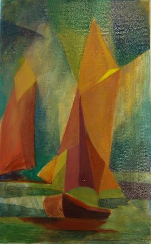 Sigrun Laue, kleine Zeesboote, Abstraktes, Abstrakte Kunst