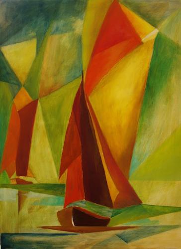 Sigrun Laue, Zeesboote, Landschaft: See/Meer, Abstrakte Kunst