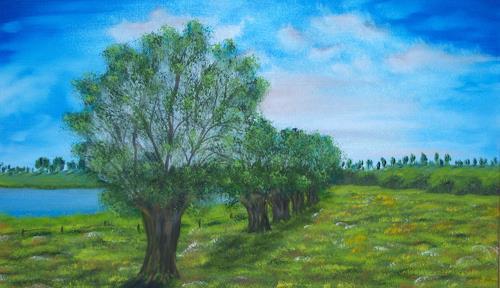 Susanne Köttgen, Weiden am See  II, Landschaft: See/Meer, Pflanzen: Bäume, Realismus