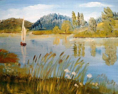 Susanne Köttgen, See in Vorpommern, Landschaft: See/Meer, Natur: Wald, Realismus, Expressionismus