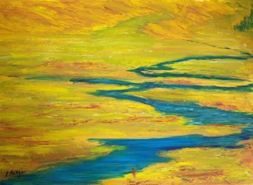 Susanne Köttgen, Wasser in der Steppe, Landschaft: Ebene, Realismus