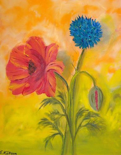 Susanne Köttgen, Mohn- und Kornblume, Pflanzen: Blumen, Pflanzen: Blumen, Realismus, Neuzeit