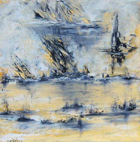 Susanne Köttgen, Grenzlinien, Abstraktes, Landschaft: See/Meer, Moderne, Expressionismus