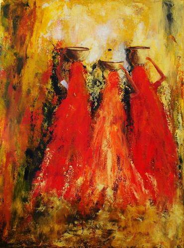 Susanne Köttgen, Afrika II, Menschen: Gruppe, Abstraktes, Abstrakter Expressionismus, Expressionismus