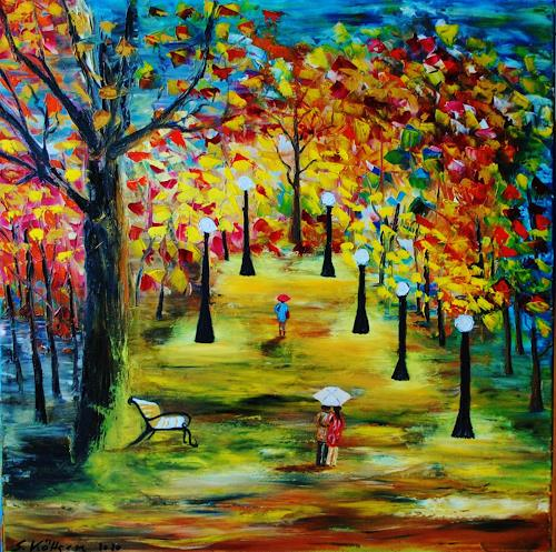 Susanne Köttgen, Herbstlandschaft, Landschaft: Herbst, Gefühle: Freude, Abstrakter Expressionismus