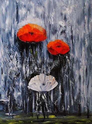 Susanne Köttgen, Schwarz / Weiß trifft Farbe / Serie, Pflanzen: Blumen, Gefühle: Freude, Abstrakter Expressionismus