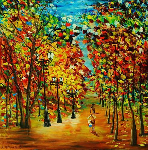 Susanne Köttgen, Herbstlandschaft / Serie, Landschaft: Herbst, Natur: Wald, Abstrakter Expressionismus, Expressionismus