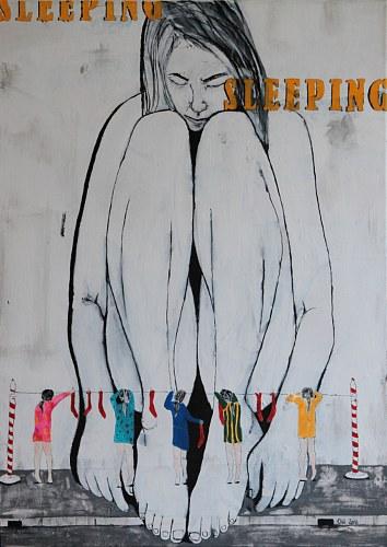 Olivia Weiss, sleeping, Menschen: Frau, Gegenwartskunst, Abstrakter Expressionismus