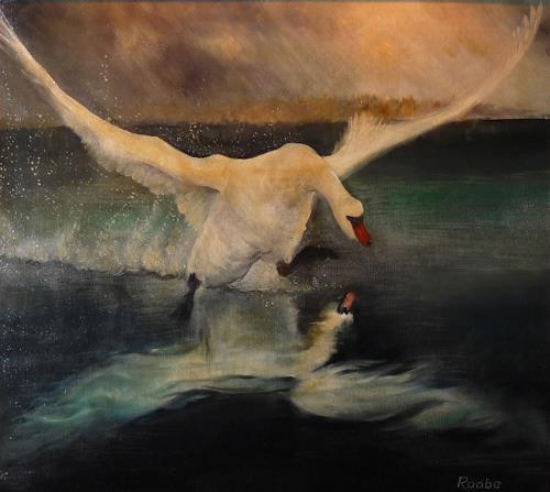 Roland Raabe, Dynamik, Landschaft: See/Meer, Tiere: Wasser, Expressionismus