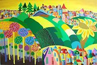 Mimi-Revencu-Fantasie-Landschaft-Sommer-Gegenwartskunst-Gegenwartskunst