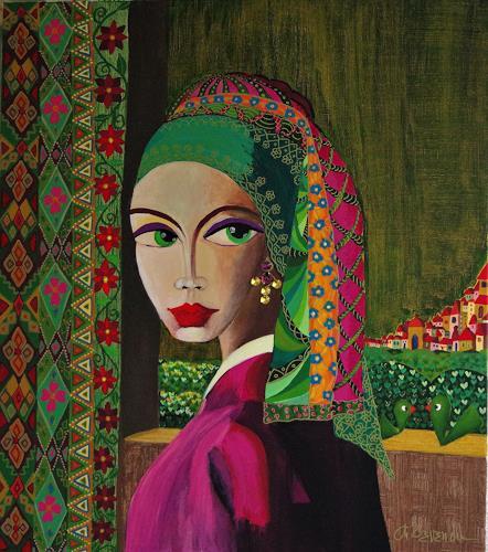 Mimi Revencu, Girl Whit Swarovski Earring, Menschen: Frau, Landschaft, Gegenwartskunst, Expressionismus