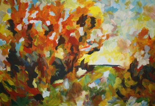 Isabel Zampino, Herbsttag, Landschaft: Herbst, Pflanzen: Bäume, Gegenwartskunst