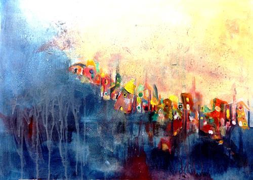 Isabel Zampino, kleine bunte Welt, Diverse Bauten, Fantasie, Naive Kunst