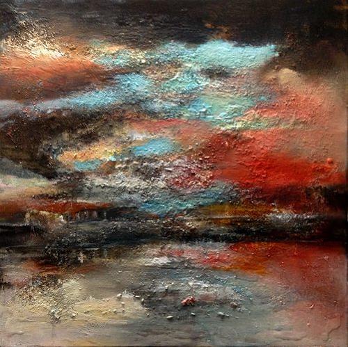 Isabel Zampino, dunkle Wolken, Landschaft: Ebene, Natur: Luft, Gegenwartskunst, Abstrakter Expressionismus