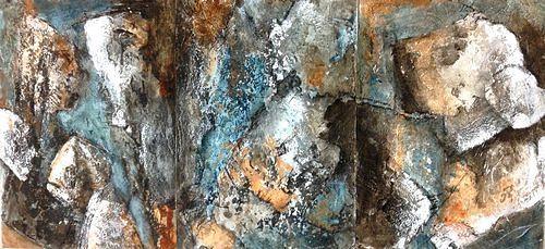 Isabel Zampino, Fels, Stein, Wasser I-III, Natur: Gestein, Natur: Wasser, Gegenwartskunst, Abstrakter Expressionismus