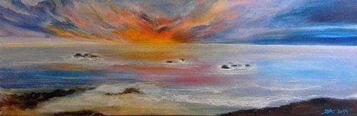 Isabel Zampino, Ein Tag geht zu Ende, Landschaft: See/Meer, Romantik: Sonnenuntergang, Gegenwartskunst