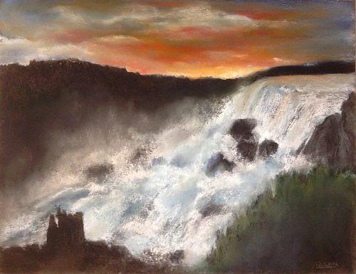 Isabel Zampino, Wassermassen II, Natur: Wasser, Romantik: Sonnenuntergang, Gegenwartskunst, Expressionismus