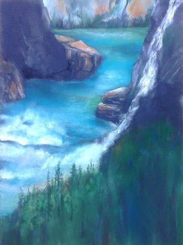 Isabel Zampino, Wassermassen V, Landschaft: Berge, Natur: Wasser, Gegenwartskunst, Expressionismus