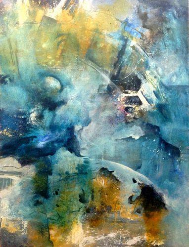 Isabel Zampino, Müllhalde Ozean, Landschaft: See/Meer, Gefühle: Trauer, Gegenwartskunst, Abstrakter Expressionismus