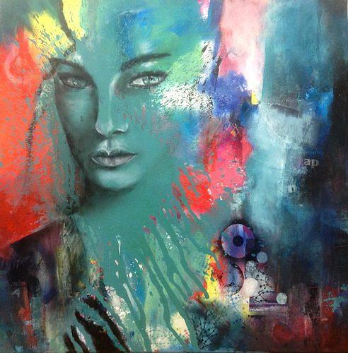 Isabel Zampino, Verdoso (grünlich), Menschen: Frau, Menschen: Porträt, Gegenwartskunst, Abstrakter Expressionismus