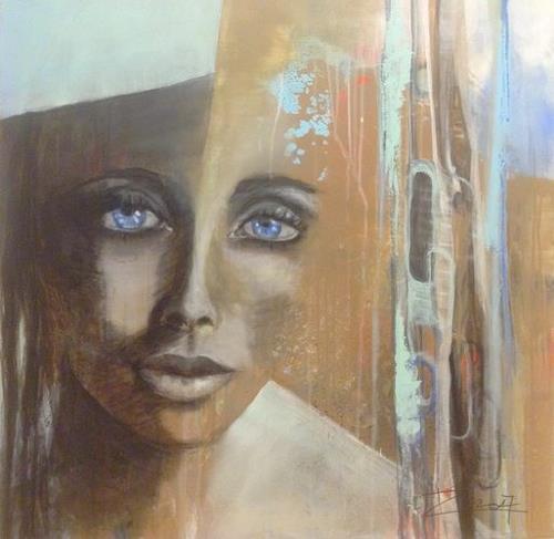 Isabel Zampino, Blue Eyes, Menschen: Frau, Menschen: Porträt, Gegenwartskunst, Expressionismus