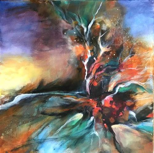 Isabel Zampino, Paradiesvogel, Tiere: Luft, Diverse Landschaften, Gegenwartskunst, Abstrakter Expressionismus