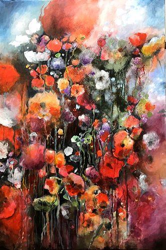 Isabel Zampino, Sommergarten, Pflanzen: Blumen, Zeiten: Sommer, Gegenwartskunst, Expressionismus