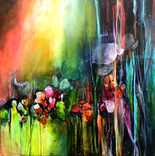 Isabel Zampino, Sommergarten III, Pflanzen: Blumen, Landschaft: Sommer, Gegenwartskunst, Expressionismus