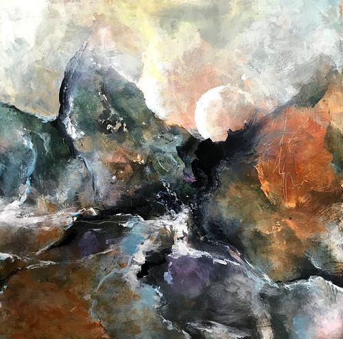 Isabel Zampino, Vollmond in den Bergen, Landschaft: Berge, Landschaft: Sommer, Gegenwartskunst